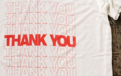 "BRANDY♡MELVILLE Market Print T-Shirts ""THANK YOU"""