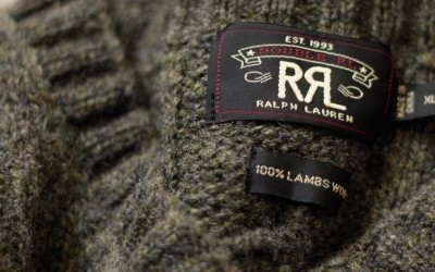 RRL V-Neck Cable Knit Wool Sweater