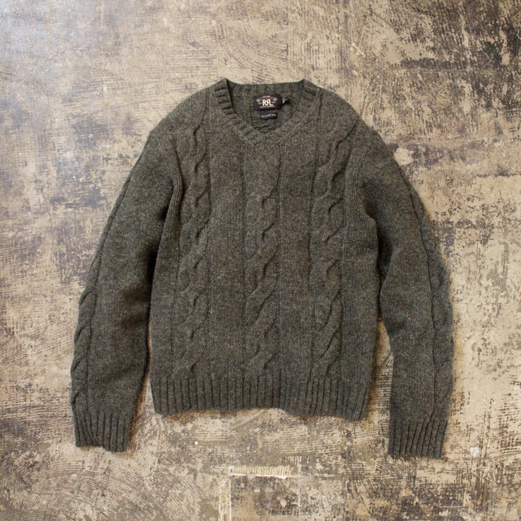 RRL Fishermans V Neck Knit