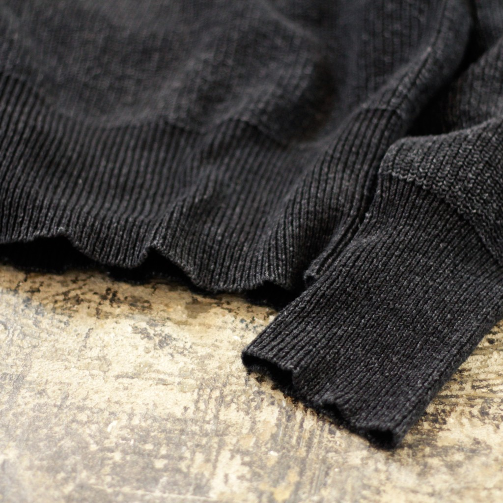 RRL Black Indigo Shawl Collar Cotton Knit
