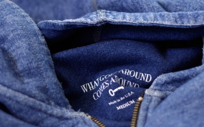 WHAT GOES AROUND COMES AROUND Indigo Zip Up Parka