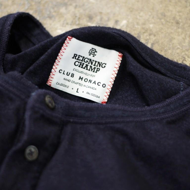 REIGNING CHAMP × CLUB MONACO Indigo Henry Neck T-Shirts