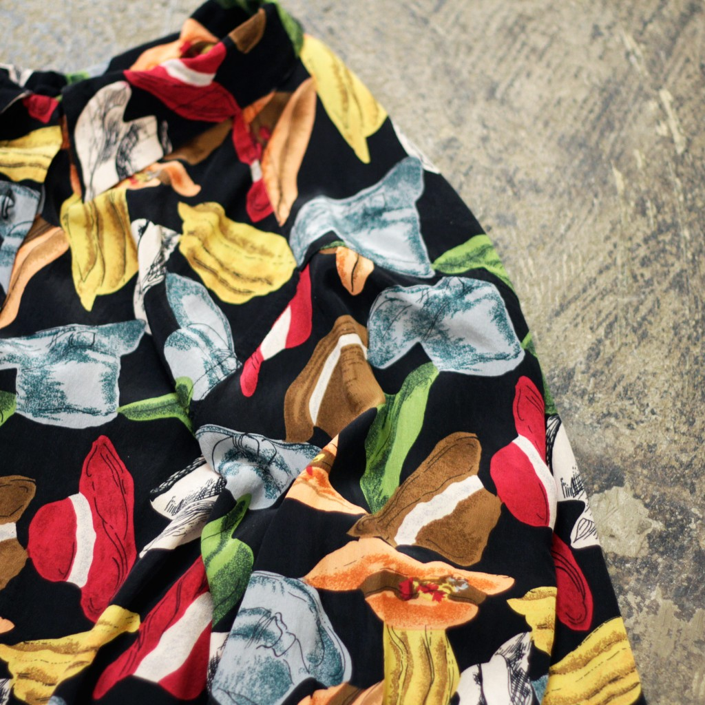 "Vintage Print Silk Shirt ""HAT"""