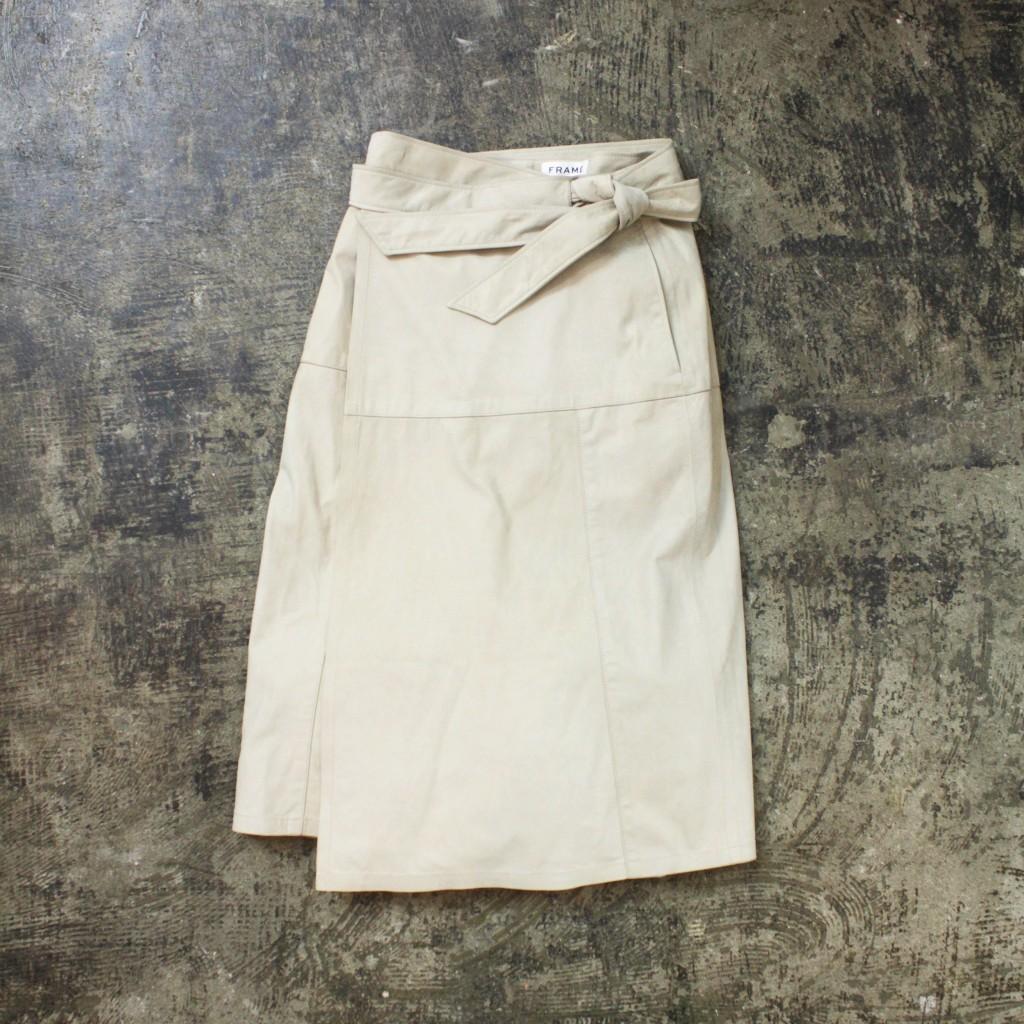 FRAMEDENIM Leather Wrapped Skirt