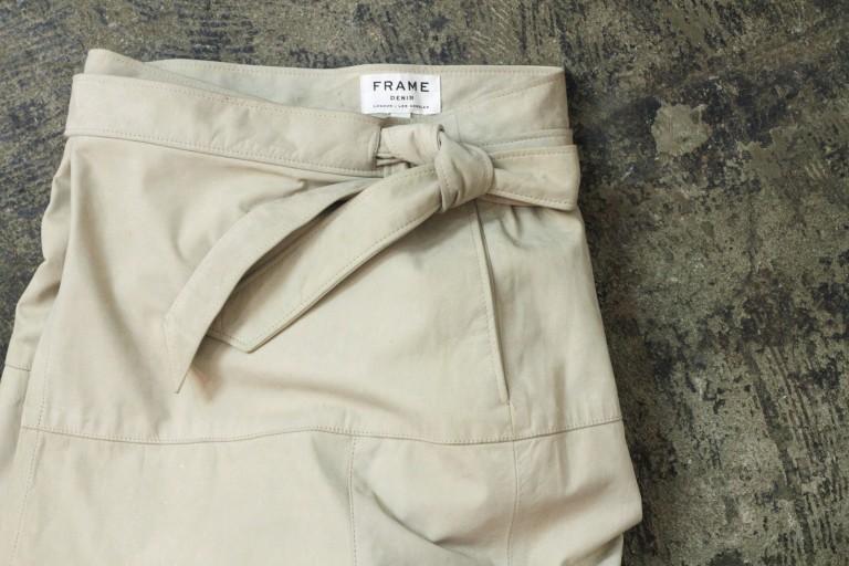 FRAME DENIM Nubuck Leather Wrap Skirt