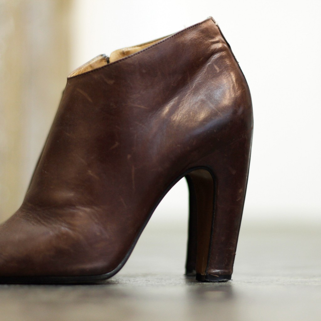 Maison Martin Margiela Leather Peep-Toe Ankle Boot