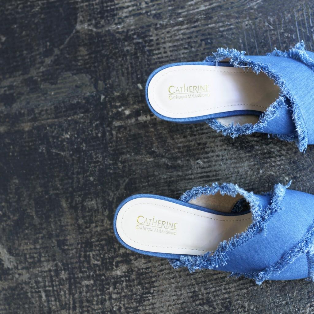 CATHERINE  MALANDRIO Denim Fringe Sandal