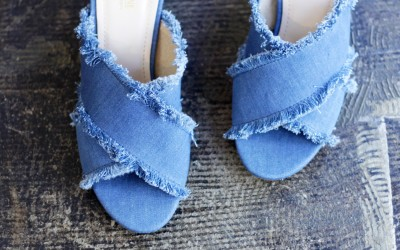 CATHERINE MALANDRIO Denim Cross Strap Sandal