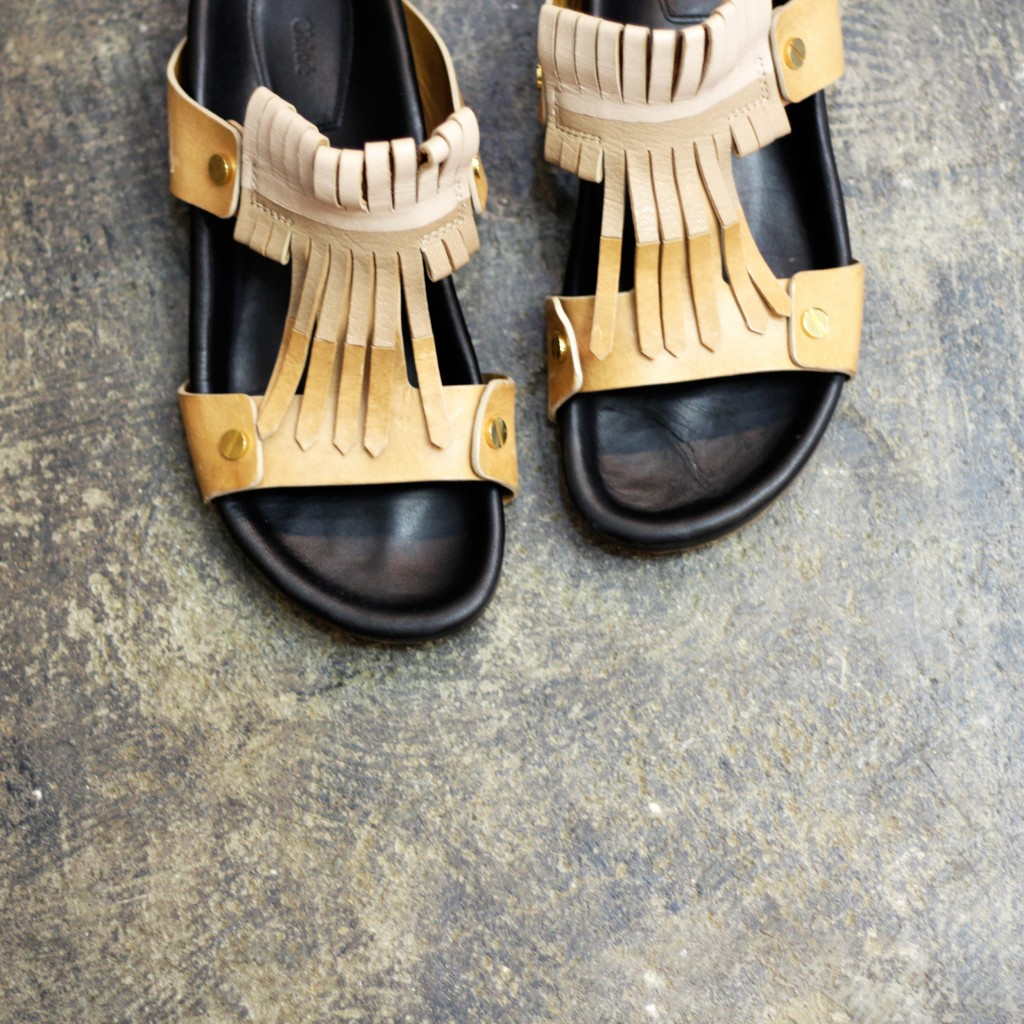 Chloe Leather Tussel Sandal