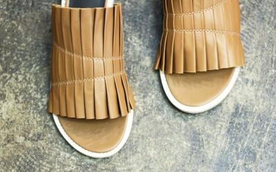 Tibi Pleats Flat Sandal