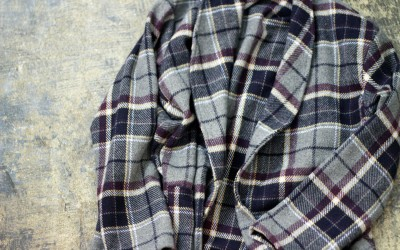 Vintage Check Wool Long Gown