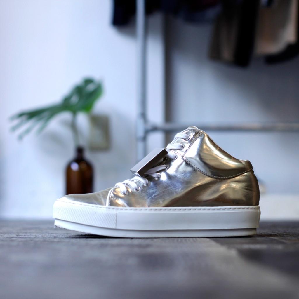 Acne Studios Metallic Cleo Hi-Cut Sneaker