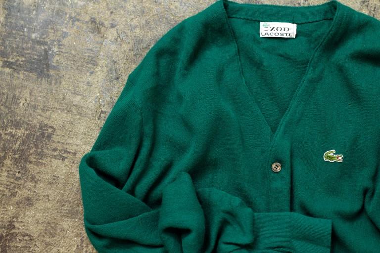 IZOD LACOSTE 70′s Vintage V-Neck Wool Cardigan