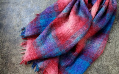 Ombre Check Mohair Big Stole