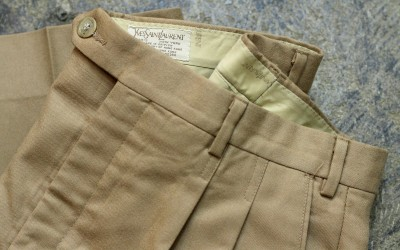 YVES SAINT LAURENT Vintage Center Press Tuck Slacks