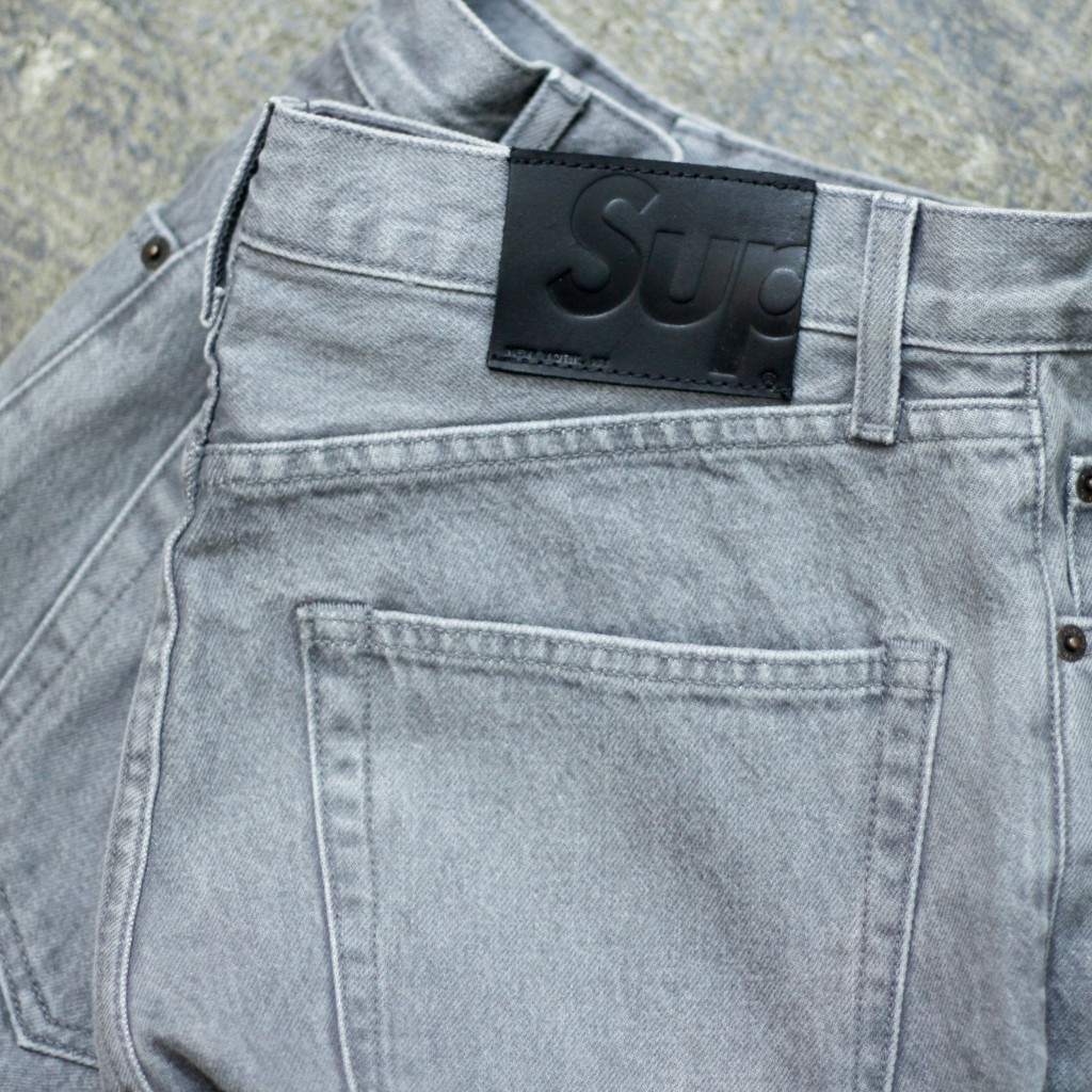 Supreme washed grey slim jeans