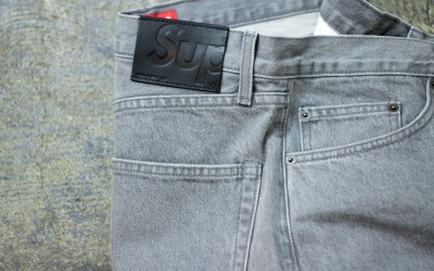 Supreme 2015ss Washed Grey Slim Jeans