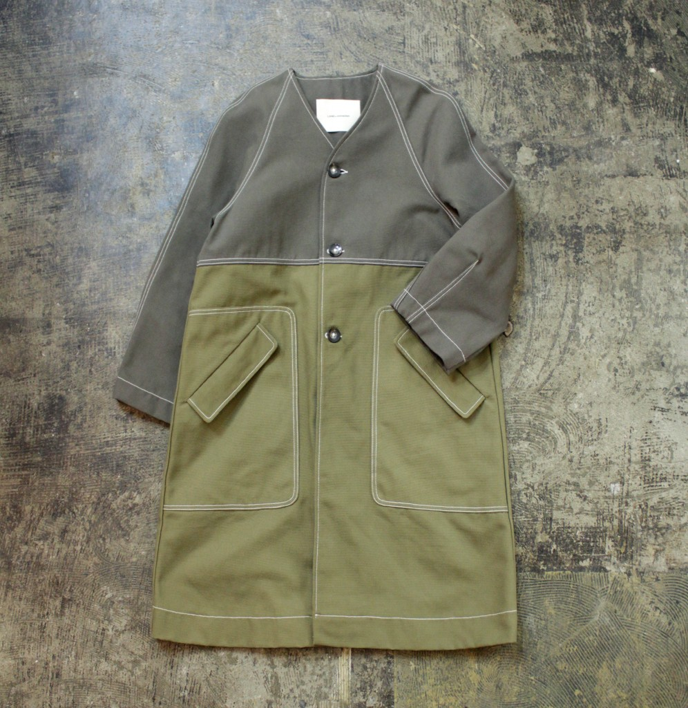 LAND OF DISTRUCTION Two-Tone Army Long Coat
