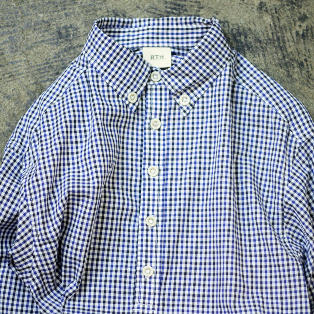 RTH Gingham Check Pull Over Shirt
