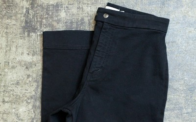 & Other Stories Hi Waisted Cropped Flare Black Pants