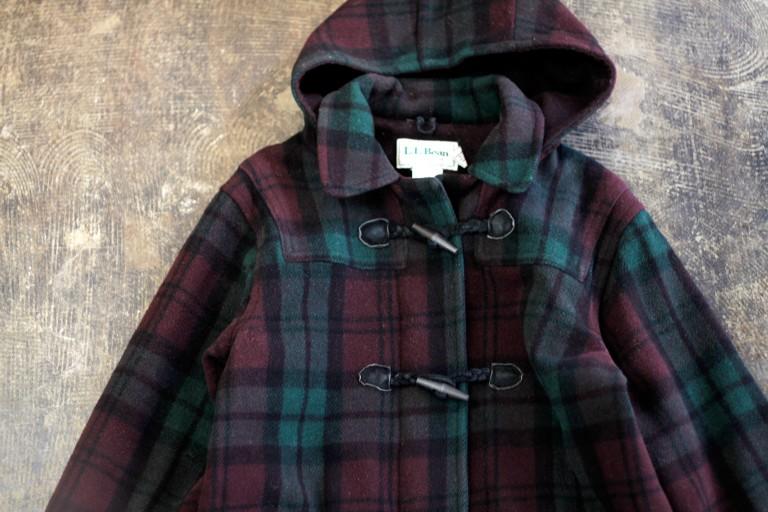 L.L. Bean 80′s Plaid Check Duffle Coat