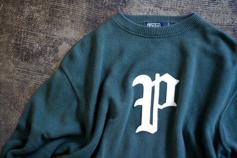 "POLO by Ralph Lauren ""P"" Felted Logo Cotton Knit"