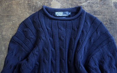 POLO by Ralph Lauren 90′s Roll-Neck Cotton Cable Knit