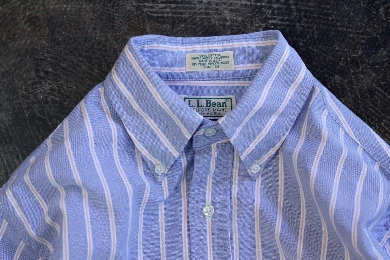 """L.L.Bean 80′s~ OX B.D Stripe Shirts """"Made in U.S.A"""""""